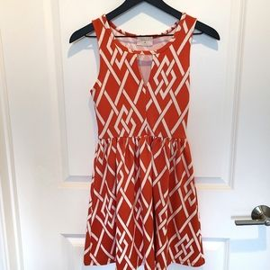 Everly Coral Fit & Flare Diamond Print Dress